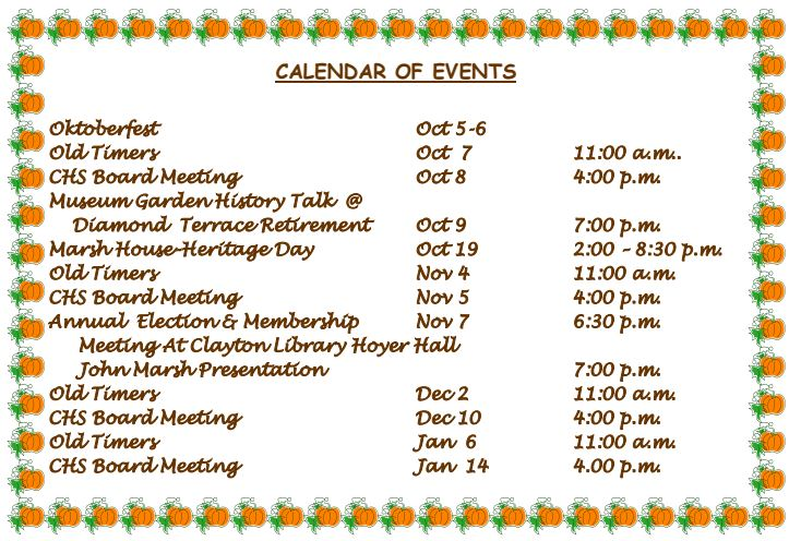 October 2019 Calendar of Events Clayton Historical Society